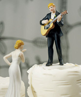 2014 newest Guitar holding groom and bride figures funny wedding cake toppers