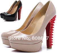 2013 Platform Spikes Shoes Patent Leather Red Bottom Pump High Heel Studs Nude Thick Heels Spikes Wedding Dress Shoes 14CM heel