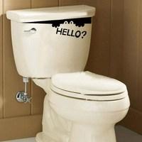 1pcs Free Shipping Funny Bathroom Toilet Hello Monster Decal Home Wall Art Decor Vinyl Sticker