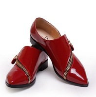 ENMAYER 2014 new size 34-39 Listed on the new flat with diagonal zipper shoes beautiful leather casual shoes