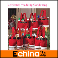 Hot Sale Santa Pants Christmas Gifts Decoration Christmas Wedding Candy Bags 5pcs/lot