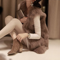 Autumn and winter faux vest fox fur medium-long vest slim fur coat women winter vest