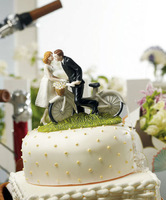 "2014 Newest A Kiss Above"" Bicycle wedding cake toppers decoration"
