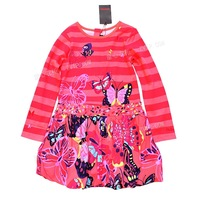 2014new arrival girls print dress kids cotton dress long sleeve clothes for 3-10year children free shipping promotion wholesale