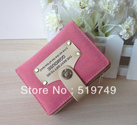 2013 spring new arrival nubuck leather sweet short design female wallet color block wallet