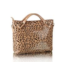FREE SHIPPING 2013 fashion leopard print women leather handbag women messenger bag hotsale shoulder bag big brand totes