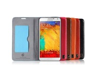 Free Shipping 100% Genuine Leather Case for Samsung Galaxy Note 3 III N9000 Flip Cover With Card Slot and Strap