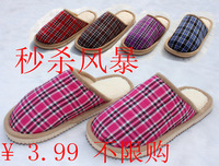 Square grid cloth lovers home anti-slip soles autumn and winter thickening thermal cotton-padded slippers