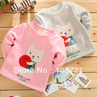 3Y Baby Kids Thick Warm Long Sleeve Cat Cartoon Shirt Velvet Tops T-shirt Age Drop Free Shipping