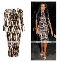 Wholesale 2013 Free shipping New fashion bandage dress hot bodycon dress sexy women elegant black dresses leopard print