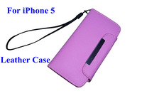 High Quality Leather Case With  Credit Card Slot For iPhone 5 5S 5G,Leather Sheath For Cellphone,Multiple Color Case Cover