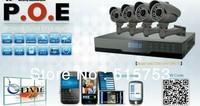 Free shipping 720P 4CH 1.3Megapixel H.264 NVR POE 4pcs IP IR Night Vision POE Security Camera IP Kit