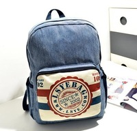 Vintage fashion postmark denim backpack, wholesale unisex leisure stamp packsack, women rucksack, sports/school bag, pupil style