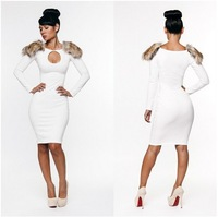 Wholesale 2013 Free shipping New fashion bandage dress hot bodycon dress sexy women elegant black dresses with fur