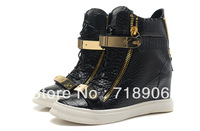 Solid Genuine Leather Giuseppe wedge sneakers for Women giuseppe shoes Double metallic Plate gz shoes