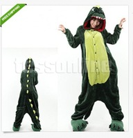 Free shipping Boys Girls Green Dinosaur Animal Cartoon Sleepwear one-piece Pajamas Cos Costume