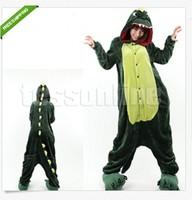 Free shipping Boys Girls Green Dinosaur Animal Cartoon Sleepwear one-piece Pajamas Cos Costume