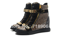 Python pattern Giuseppe wedge sneakers for Women giuseppe shoes snake Double metallic Plate gz shoes