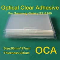 100pcs/lot OCA optical clear adhesive doubleside glue tape for Samsung Galaxy S2 i9100 lcd touch screen out glass Free Shipping
