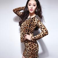 Fashion autumn leopard print o-neck belt women's slim one-piece dress slim sexy hip skirt