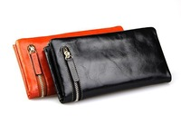 Fashion Vintage Casual Genuine Cow Leather Oil Wax Leather Cowhide Women Long Bifold Wallet Wallets Purse For Women H2013