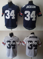 Free shipping NCAA Auburn Tigers #34 Bo Jackson Authentic College Throwback Football Jerseys, Embroidery And Double Stitched