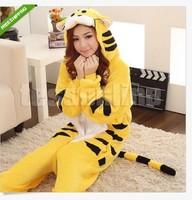 Free shipping Flannel Yellow Tiger Animal Cartoon Sleepwear one-piece Pajamas Cosplay Costume