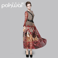 2014 elegant silk autumn one-piece dress new arrival silks and satins plus size clothing