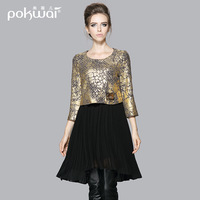 2014 luxury three quarter sleeve pleated skirt high waist autumn twinset one-piece dress