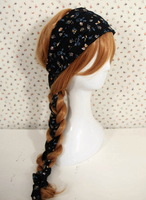 Spring and summer navy blue american vintage silk scarf bandeaus hair band hair bands hair accessory