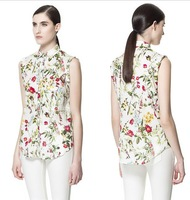 new 2014 summer blouse for women sleeveless OL chiffon shirt western style tank top collar floral printed free shipping