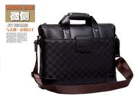 100% genuine leather cowhide Shoulder knurling gingham male  men's bag business messenger portable briefcase