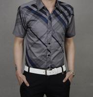 Cshluo summer short-sleeve plaid shirt plus size plus size men's clothing slim shirt male red