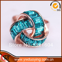 2013 New Retail Fashion Rose Gold  Plated Green And Red Stone Twitters Rings For Europen Women Jewelry  WNR649