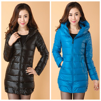 2013 women's slim PU down cotton-padded jacket female medium-long women's wadded jacket