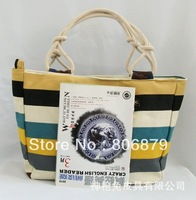 Colorful striped canvas bag manufacturers wholesale bulk fashion leisure female bag shoulder bag women bag