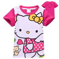 Christmas 6pcs/lot Kids Children's child T-shirt t-shirt HELLO KITTY Girls Short Sleeve t shirt 100% Cotton t shirt wholesale