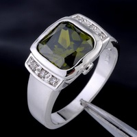 Genuine Brand Jewelry Square Peridot Crystal 10KT White Gold Filled Cocktail Ring