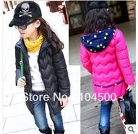 Winter  Female  wadded jacket   cotton-padded jacket medium-long polka dot hat thickening thermal