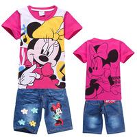 Minnie Mouse 2014 Fashion children baby girls short clothes suits set kids summer short sleeve t shirt+ jeans sets 2pcs/lset