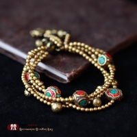 Copper tibetan style wax cord preparation of handmade bracelets bracelet lucky ruyi