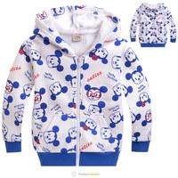New 2014 Winter Warm Mickey Mouse Children's Cartoon  Zipper Cardigan Coat Boys Jacket Fleece hoodies kids boys Garment  outware