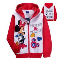 wholesale Baby Girls MINNIE Warm hoodies jacket Children Kids Cartoon Sweater, girl Long Sleeve tops Winter wear free shipping
