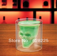2013 New Arrival! wholesale 48/lot Doomed Pirate Skull Shot Glass/ Crystal Skull Head Vodka Shot Wine Glass Novelty Cup,gift