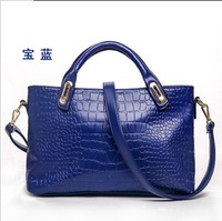 2013 women's genuine leather handbag cowhide shoulder bag casual fashion crocodile pattern handbag bag
