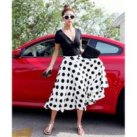 Free shipping 2014 summer high waist vintage polka dot expansion bottom sheds full dress bust skirt fashion for women hot sale