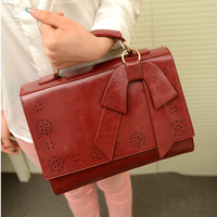 Spring vintage LADY BAG Wax oil leather bow cutout small messenger document bag h women's handbag FREE SHIPPING