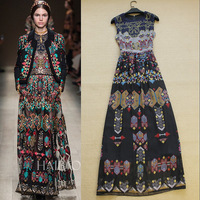 2014 spring and summer fashion ruslana korshunova vintage bohemia print slim vest full dress elegant one-piece dress
