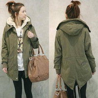 2013 Korean Solid Color Cotton-Padded Hooded Long Sleeves Thicken Coat For Women In Autumn And Winter Plus Size Thickening Coat