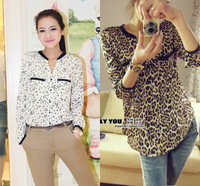 2013 spring women's leopard print top loose plus size long-sleeve shirt chiffon blouse S M L 7323#